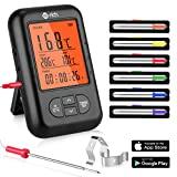 Te-Rich Bratenthermometer Bluetooth Grill Thermometer Digital Funk Küchenthermometer Wireless Küchenwecker Fleischthermometer für BBQ, Garraum, Smoker, Steak, Unterstützt IOS, Android, 6 Sonden